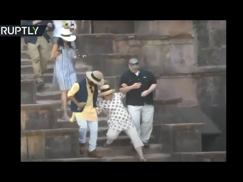 Download Youtube: Hillary Clinton slips twice on stone steps during India visit
