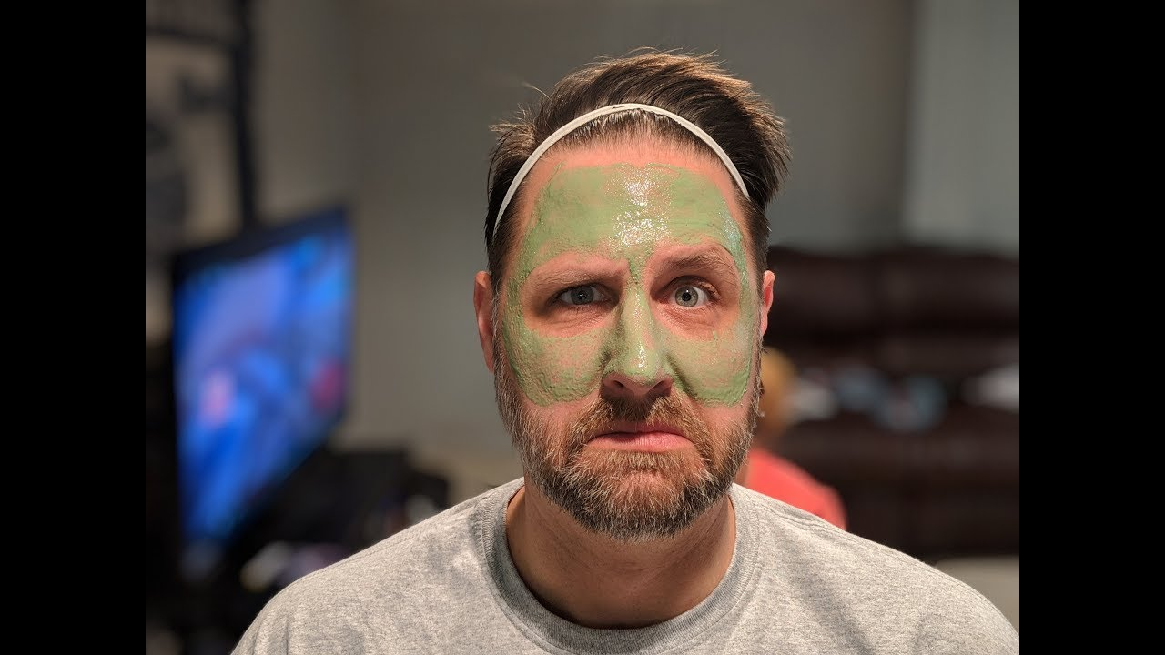 Guy in mask gets facial