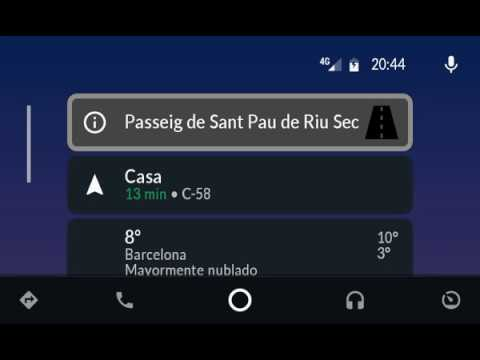 OBD2 for AA + CamSam Plus en Android Auto: tarjetas con el nombre de la vía