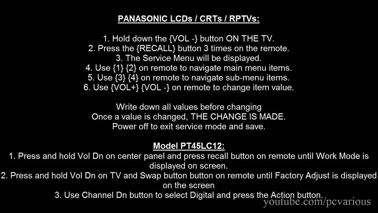 how to access service menu in panasonic tv youtube rh youtube com User Guide Icon Quick Reference Guide