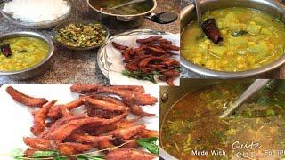 SIMPLE LUNCH MENU IN TAMIL/SURAKKAI KOOTTU/MILAGU RASAM/PAVAKKAI PORIYAL/FISH FRY
