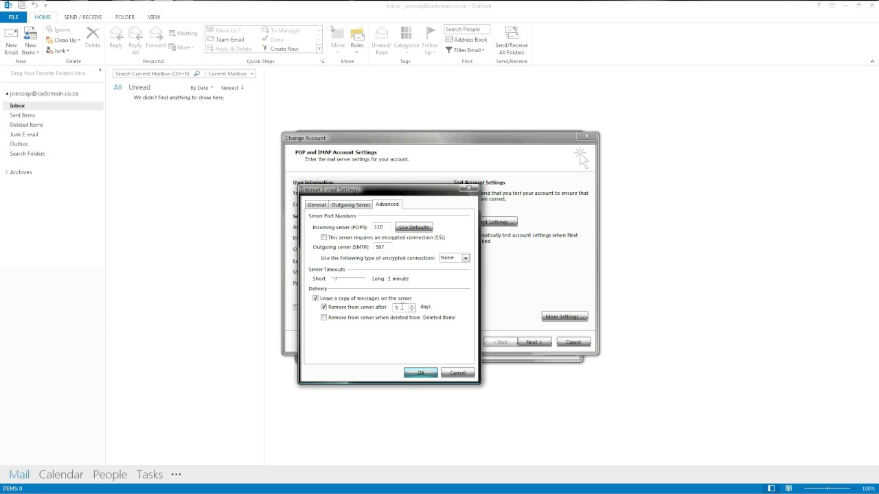 Outlook 2013: Leaving a Copy of Mail on the Server