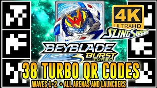 ALL 38 TURBO QR CODES BEYBLADE BURST TURBO APP (WAVES 1+2) EM 4K!