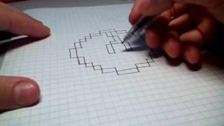 Видео урок- как нарисовать покебол по клеточкам !