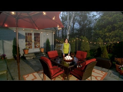 LEARN & DO Lighting Your Patio for Entertaining - Home How-To Series on entry canopy lighting, backyard pergola lighting, backyard gazebo lighting, patio canopy lighting,