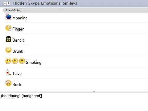 Hidden Skype Emoticons, Smilies