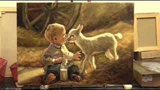 Мальчишки. Мастер-класс масляной живописи в Москве. A boy and a goat. Workshops. Allaprima