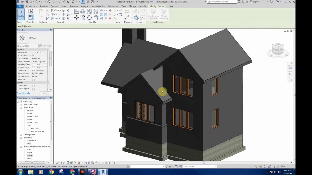 revit 2018 house tutorial part v fascia soffits wall offset