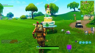 """Fortnite """"Dance in front of different Birthday Cakes"""" Locations! Fortnite's 1st Birthday Challenges"""