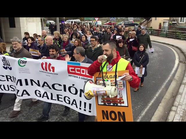 Los funcionarios de Justicia de Pontevedra toman la calle en la segunda jornada de huelga