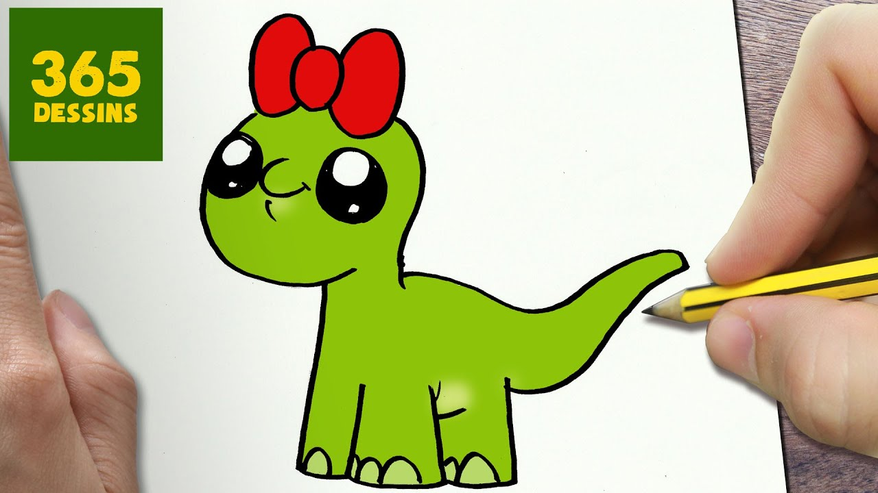Comment dessiner dinosaure kawaii tape par tape dessins kawaii facile youtube - Dinausore dessin ...