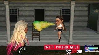 #WWE2K19 Ronda Rousey vs Alexa Bliss Big Head + Poison Mist Finisher
