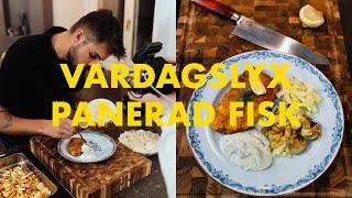 Skolans Panerad fisk och Smashed potatis med Dill- & kaprissås | Vardagslyx