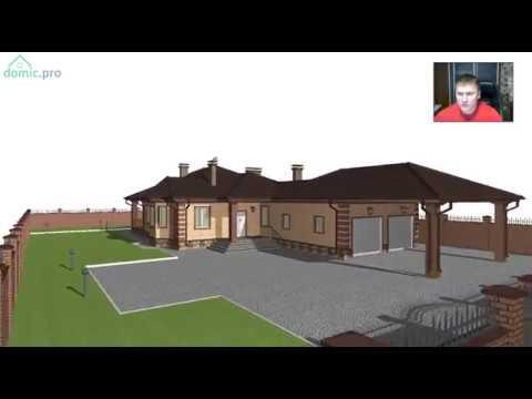 Проект удобного одноэтажного дома с сауной и гаражом  D-232-ТП