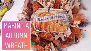 How To Make A Fall Mesh Wreath  ( with dollar tree items And Deco Mesh 2019 )