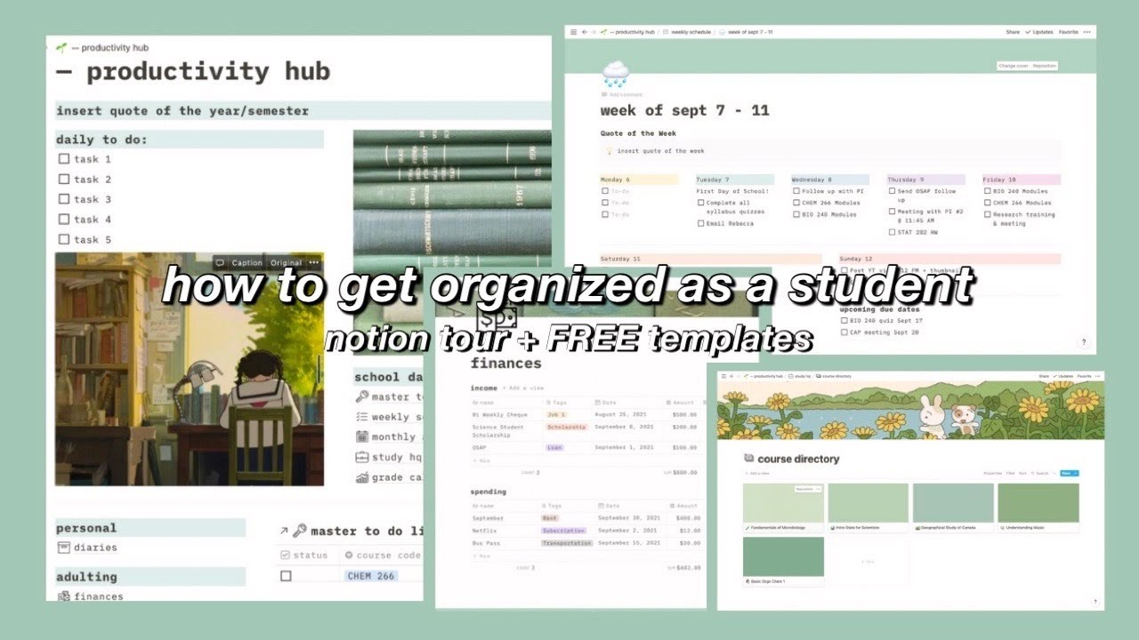 how to get organized as a college student & boost your productivity   notion tour + FREE templates🍵