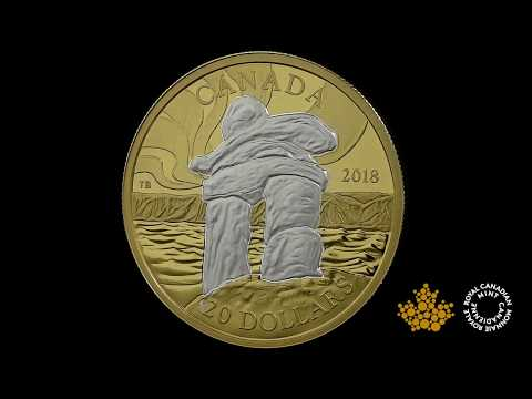 1 oz. Reverse Gold-Plated Pure Silver Coin - Iconic Canada: Inukshuk