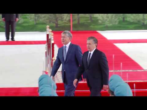 Atambayev in Uzbekistan -  welcoming ceremony/state visit