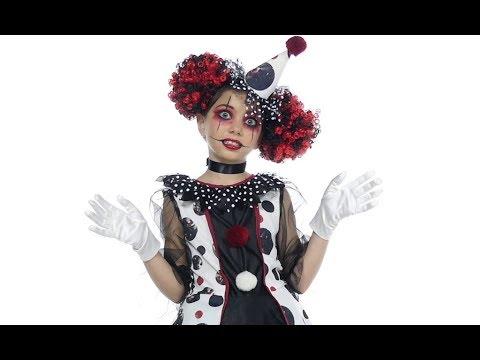 Halloween Clown Girl Outfit.Creepy Clown Girl Costume