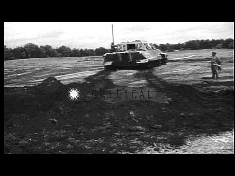 German Jagdtiger tank destroyer being tested at the Henschel tank testing grounds...HD Stock Footage