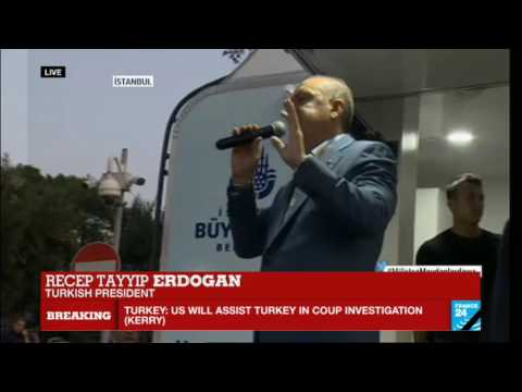Turkey coup attempt: Turkish president Recep Tayyip Erdogan addresses supporters in Istanbul