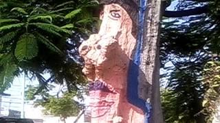 Árbol pintado de cd del Carmen Campeche