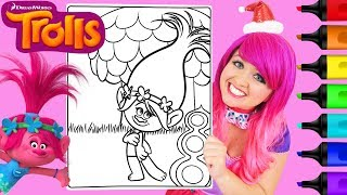 Coloring Poppy Trolls Crayola Coloring Book Page Prismacolor Colored Paint Markers | KiMMi THE CLOWN