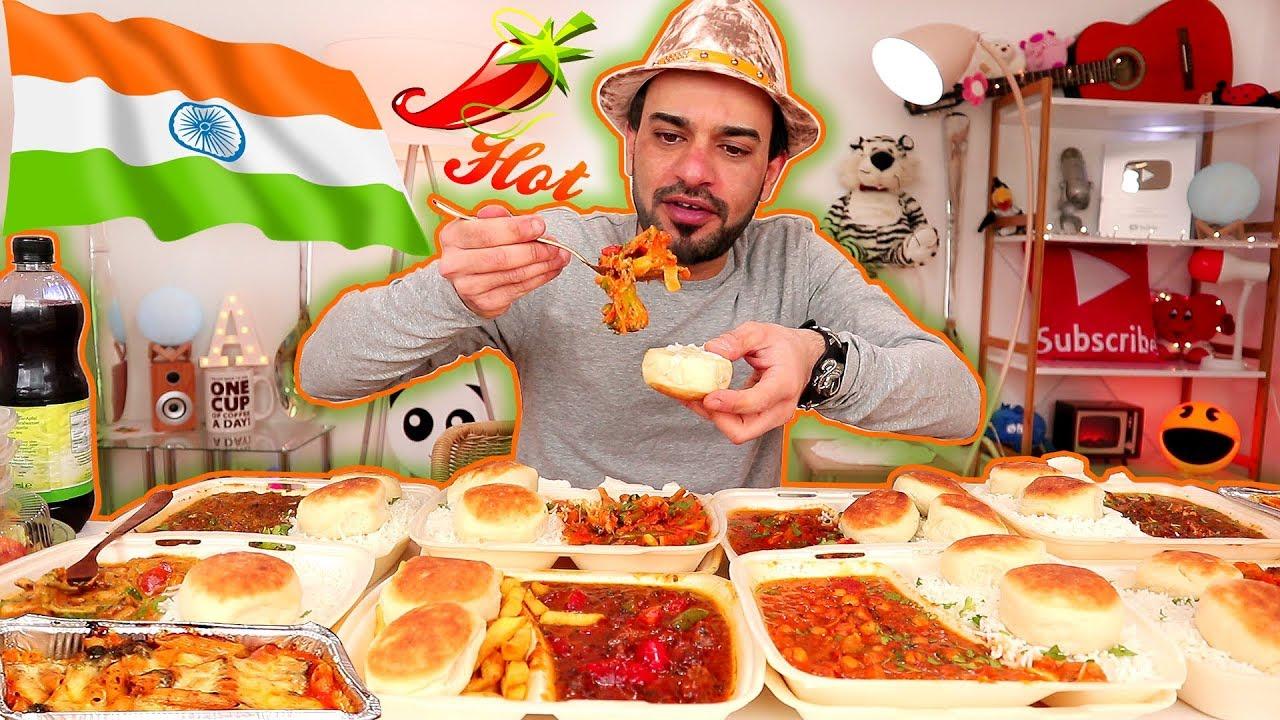 تحدي الأكل الهندي الحار - وجبة هندية عملاقة ومتنوعة ومليئة بالتوابل   Spicy Indian Food Challenge