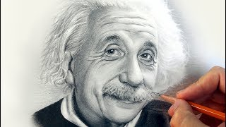 Портрет А. Эйнштейна карандашом в стиле фотореализма на маленьком формате.(Рисование портрета А. Эйнштейна в технике фото реализма. Это очередное эксклюзивное видео по рисованию..., 2016-11-09T10:08:59.000Z)