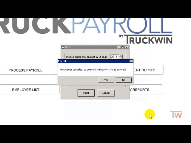 Printing W2's in Payroll