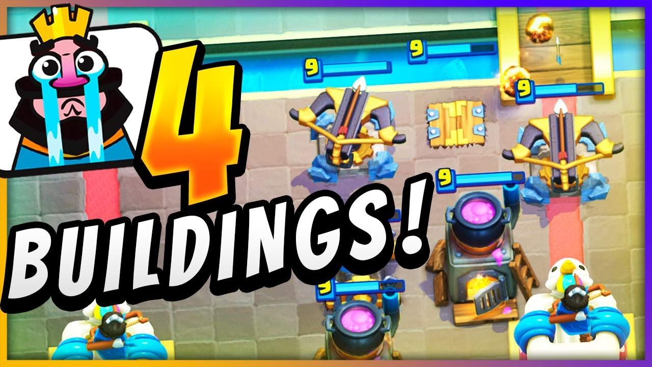 I put 4 BUILDINGS in 1 DECK in Clash Royale... AND IT WORKED 🤣