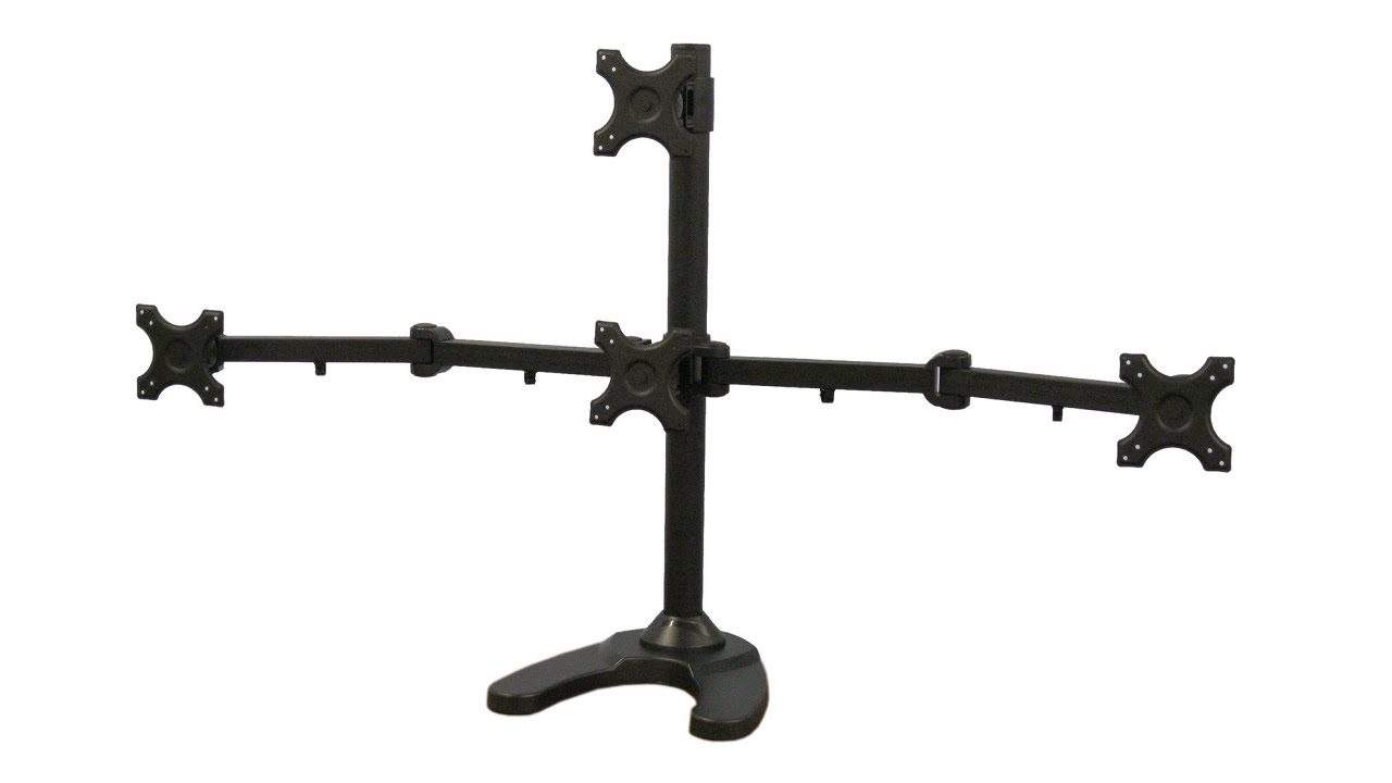 Stand V004t Quad Monitor Freestanding Mount By Vivo Youtube