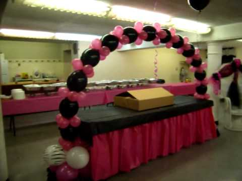 Zebra baby shower hot pink and black youtube for Zebra print and red bathroom ideas