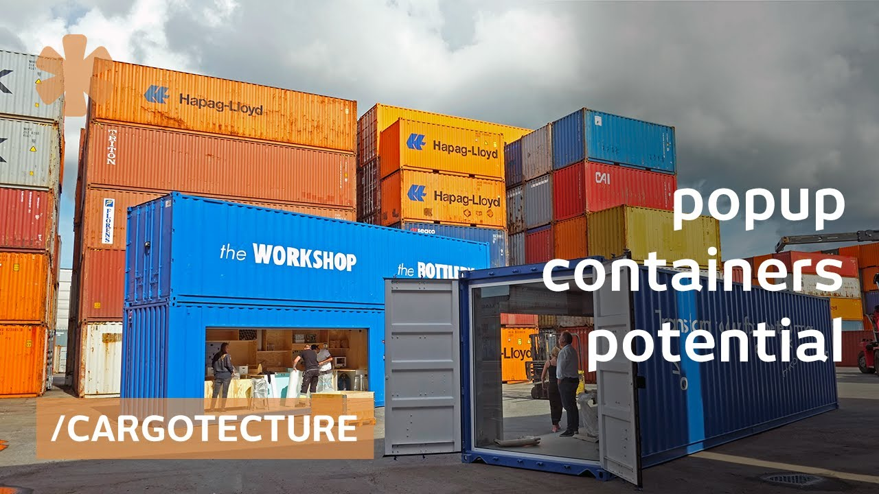 Gothenburg stacked shipping containers as instant house/offices - YouTube