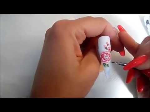 How To Paint With Acrylic Paint One Stroke Rose Nail Art Level 2