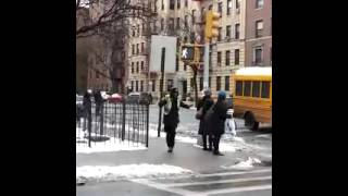 NYC crossing guard dancing.