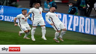 England fans celebrate opening goal against Italy