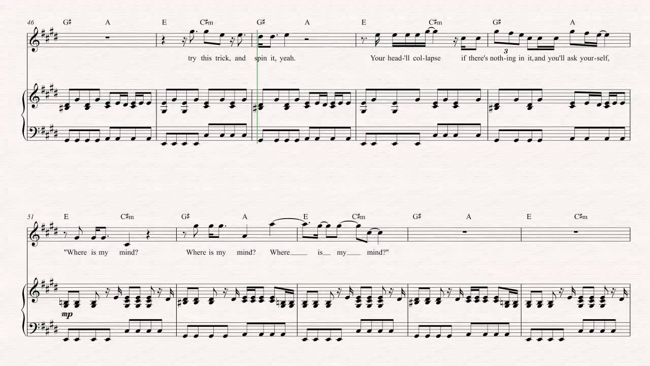 Violin Where Is My Mind The Pixies Sheet Music Chords