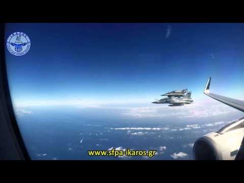 Hellenic Air Force / AEGEAN Airlines Right Echelon Formation with Radio Comms