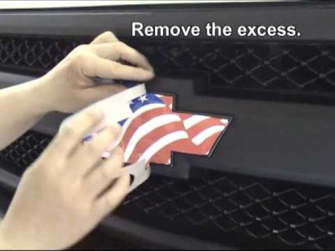 Vehicle Emblem Wrap Decal Kit Installation Instructions - Chevy bowtie rear window decal