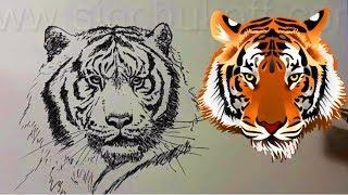 Как нарисовать ТИГРА ГЕЛЕВОЙ РУЧКОЙ! Учимся рисовать ТИГРА ! Как Научиться РИСОВАТЬ