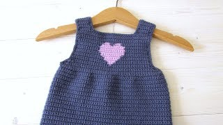 How to crochet a simple heart baby pinafore / dress