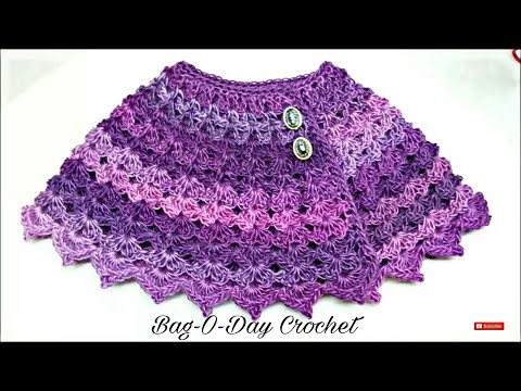 Learn How to #Crochet The Purple Petunia Baby Shawl size 12-24 months #TUTORIAL #168 Closed Caption