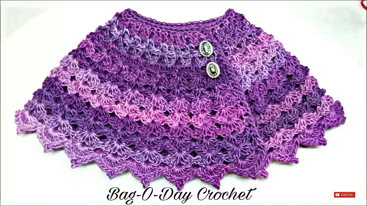 Free Crochet Pattern For A Baby Cowgirl Outfit : Learn How to #Crochet The Purple Petunia Baby Shawl size ...