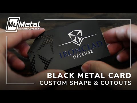 Sophisticated Custom Shaped Black Metal Business Card