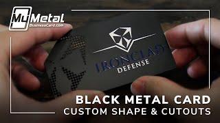 Sophisticated Custom Shaped Black Metal Business Card