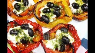 Болгарский перец запеченный в духовке по итальянски с оливками и сыром Лучший рецепт интернета