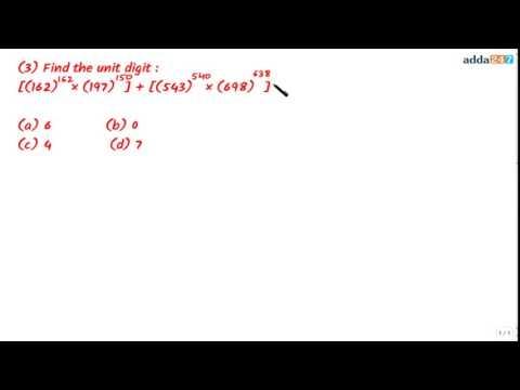 Tricks on Number System (UNIT DIGIT)