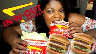 IN N OUT MUKBANG | TWO DOUBLE DOUBLE BURGERS ANIMAL STYLE (EATING SHOW)