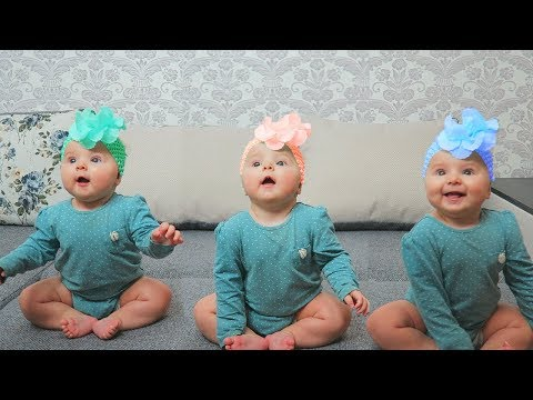 3 Cute Babies Sitting On the Bed | Song nursery rhyme for children, baby songs